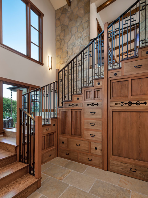 Inspiration for a mid-sized zen wooden u-shaped staircase remodel in Santa Barbara with wooden risers