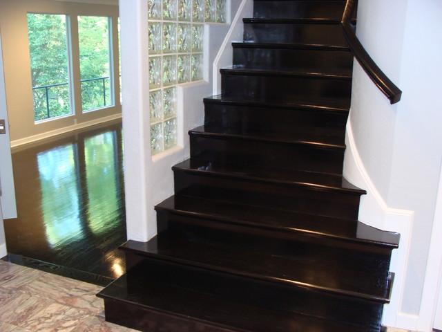 Ebony High-gloss wood floors - Modern - Staircase - kansas city - by Totta Hardwoods
