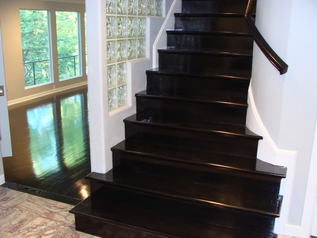 Ebony High Gloss Wood Floors Modern Staircase Kansas City By