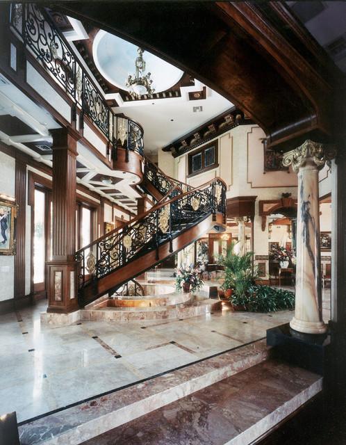 eclectic mediterranean victorian interior design foyer w