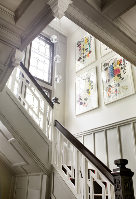 Eclectic Modern Tudor Entry Stair traditional-staircase