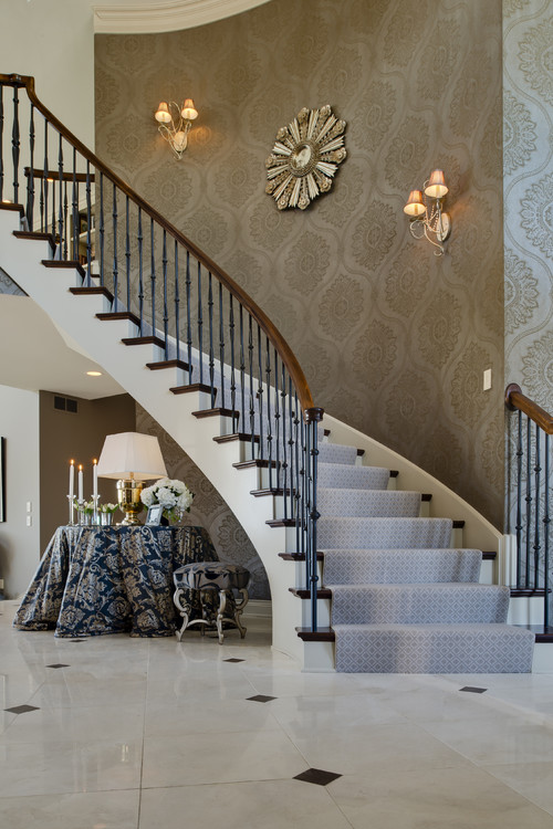 Wallpaper, sconces, wall decor. - Houzz