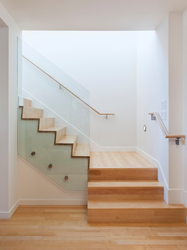 Inspiration for a modern wooden wood railing staircase remodel in San Francisco with wooden risers