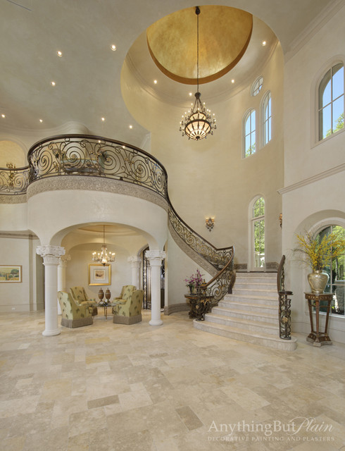 Beautiful Mansion Foyers : Elegant staircase mediterranean houston