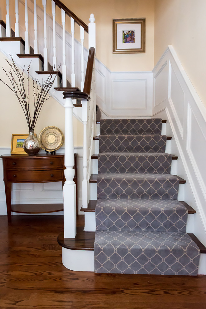 Elegant Stairway With Blue And Cream Traditional