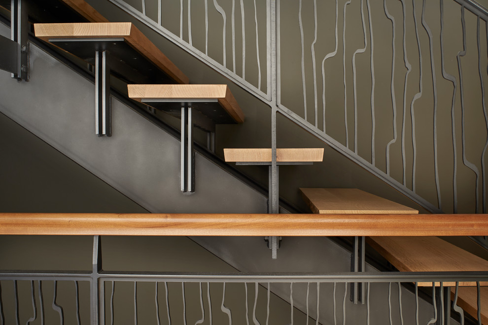 Staircase - mid-sized modern wooden straight open staircase idea in Seattle