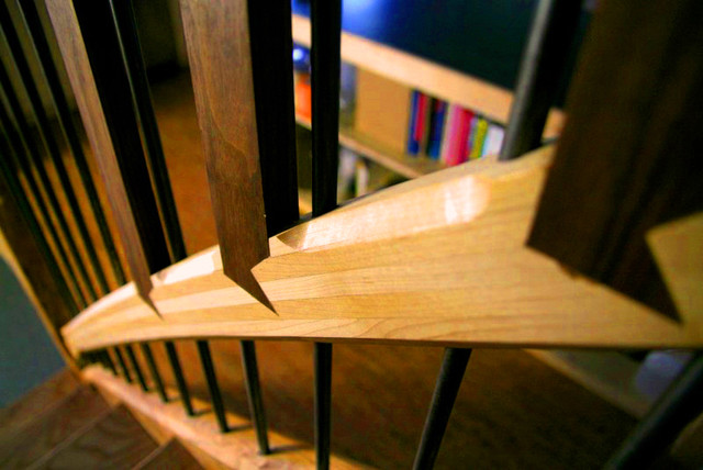 Elm Live Edge Open Riser Stairway contemporary-staircase