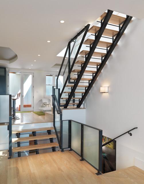 Split Level Living Room Wooden Staircase