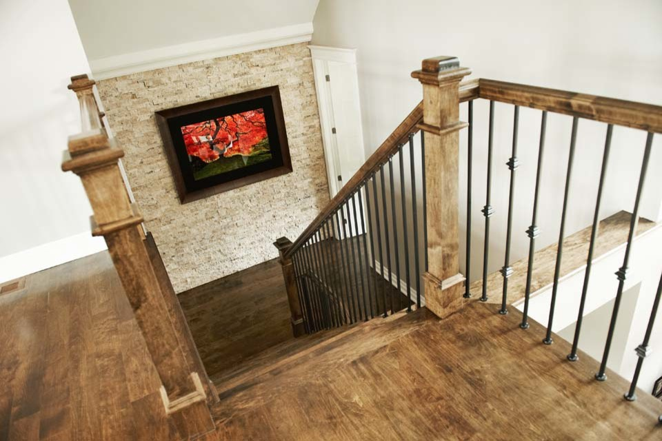 Inspiration for a transitional staircase remodel in Ottawa