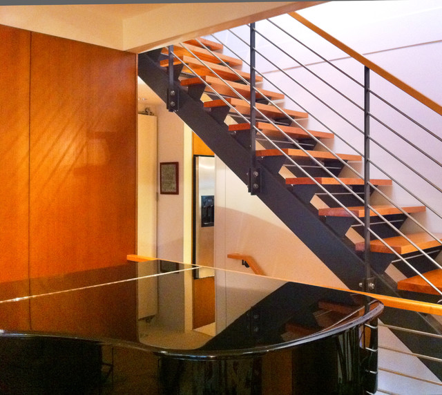 Energy and style upgrades to a ranch house contemporary Ranch style staircase