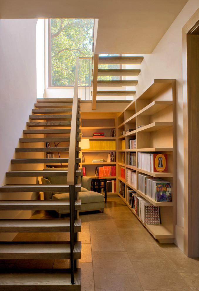 Example of a farmhouse wooden u-shaped open staircase design in San Francisco
