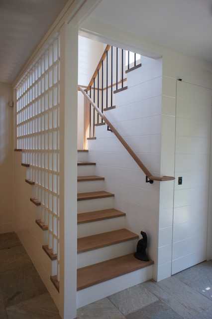 Entrance HallMudroom Rustic Staircase Boston By
