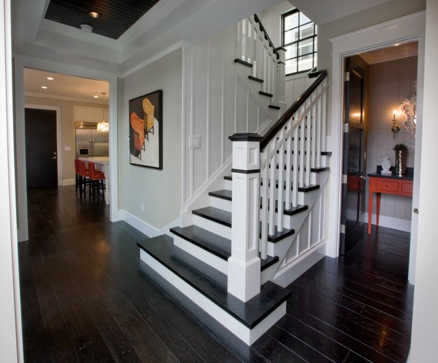 Entry Hall Stairs And Powder Bath Traditional