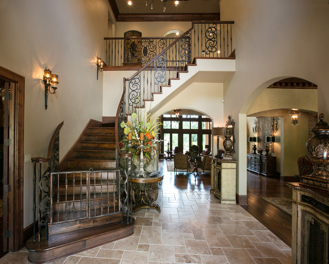 Entry Hall With Iron Staircase Mediterranean Staircase