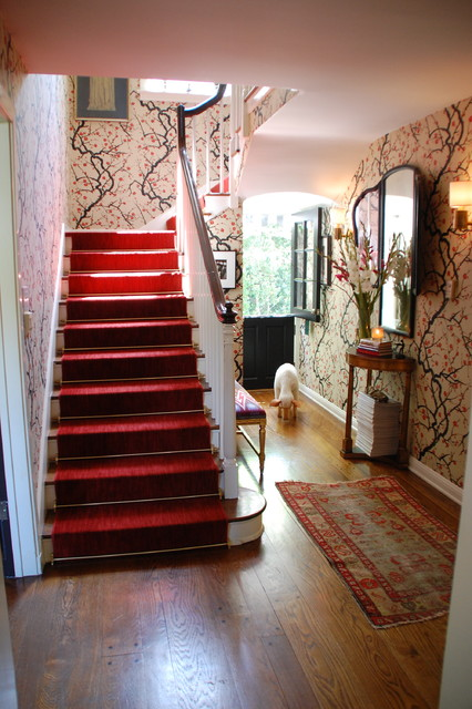 Entry eclectic staircase