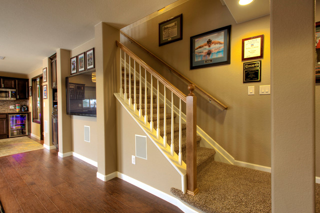 open basement stairs. Erie Basement Finish traditional staircase  Traditional Staircase Denver by Blue
