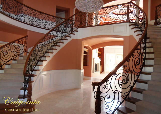 Exquisite Staircase Design view in gallery exquisite floating stairway in black a minimalists dream Exquisite Iron Wood Grand Curved Staircase Folsom Ca Mediterranean Staircase