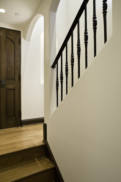Exterior, Entry, Living Room, Kitchen and Bedroom mediterranean-staircase