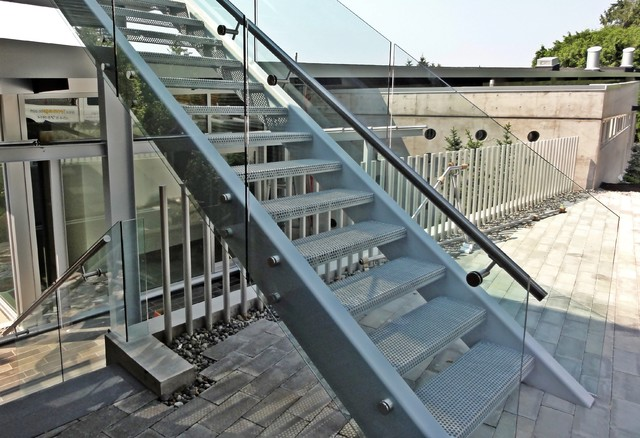 Exterior Glass Railing Contemporary Staircase Vancouver By Iron Age Manufacturing Ltd