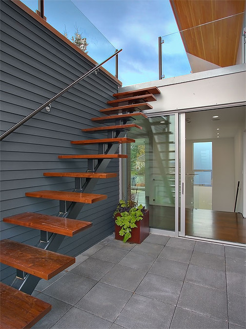 Exterior stair accessing roof terrace modern staircase seattle by jim burton architects - Home entrance stairs design ...