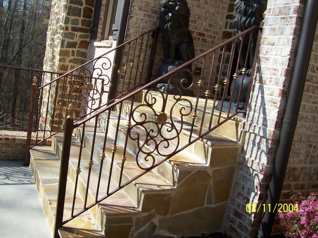 Exterior Wrought Iron Handrail Railing Mediterranean Staircase Atlanta By Womack Iron