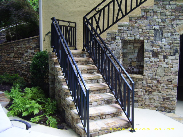 Delicieux Exterior Wrought Iron Handrail / Railing Mediterranean Staircase