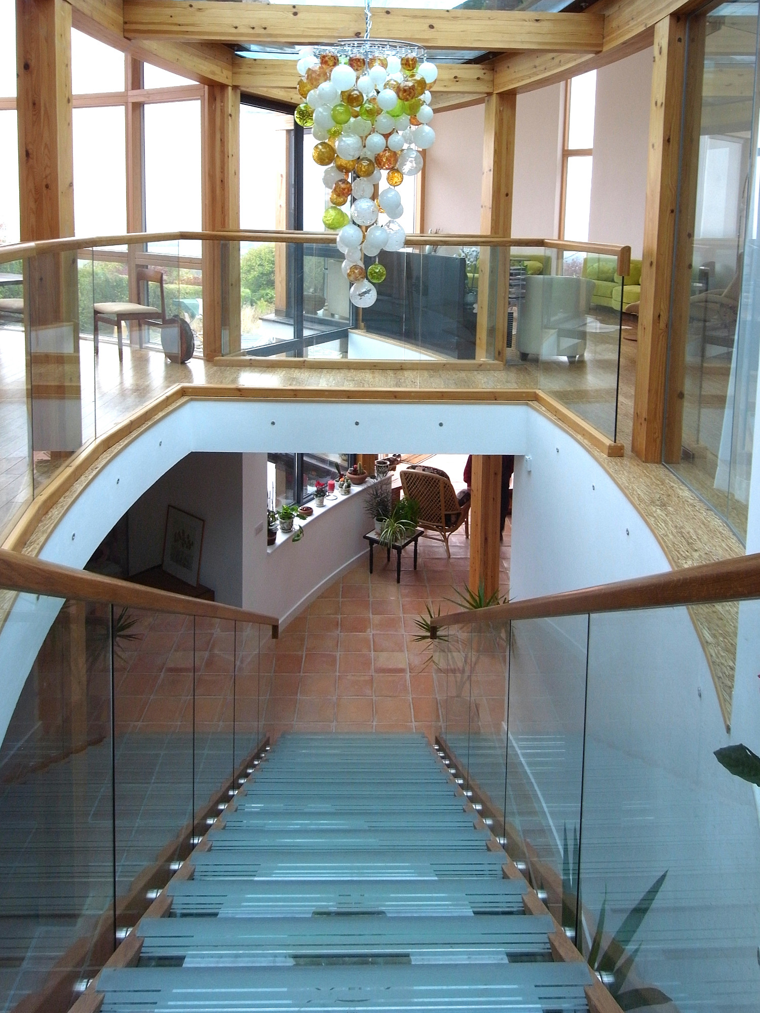 Extra wide glass stairs