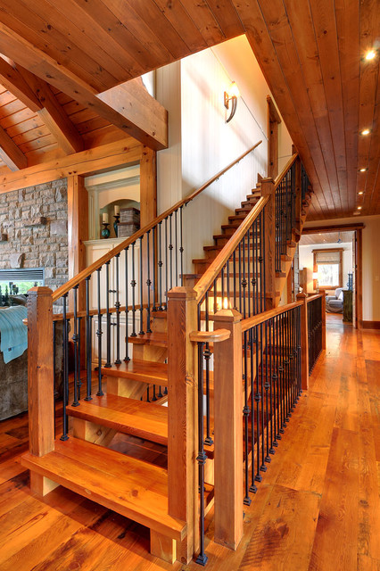 Fairy Lake Home Rustic Staircase