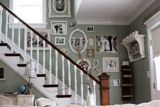 Family Photo Wall Shabby Chic Staircase Chicago By Kasey Buick