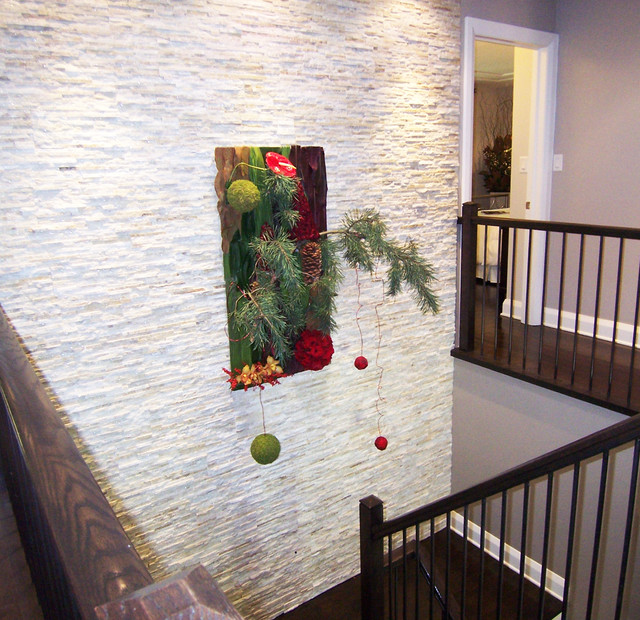 Feature Wall With White Stacked Stone Contemporary