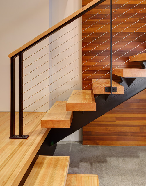 Fieldstone House contemporary-staircase