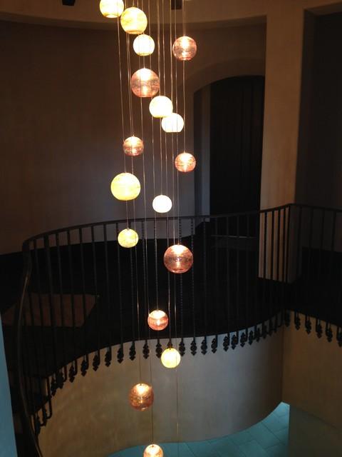 Fireball Blown Glass Chandelier Traditional Staircase