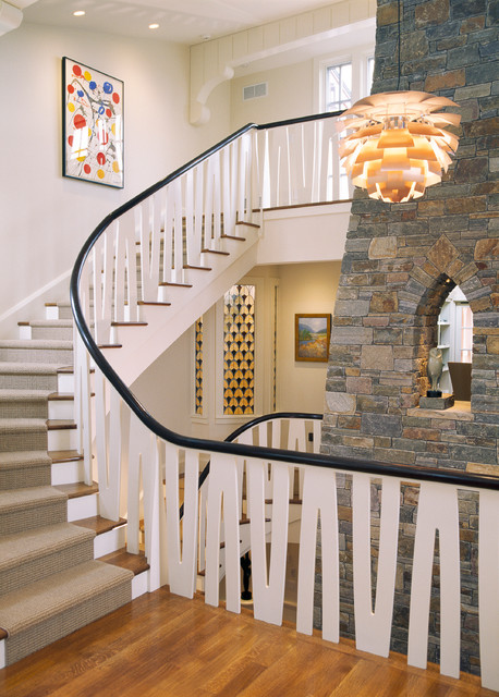 Fireplace traditional-staircase