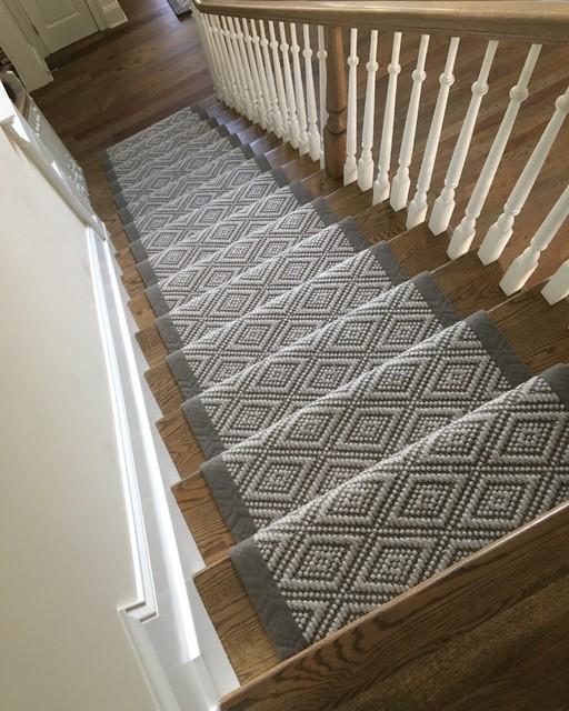 Flat-weave Wool Stair Runner With Wide Binding