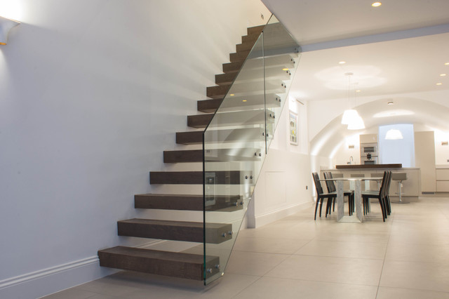 Floating Staircase In Dark Walnut Treads
