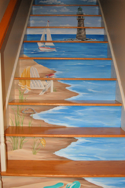 Floor stairs murals eclectic staircase boston by for Mural on wood
