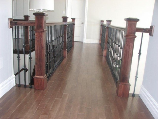 Fluted Box Newels & Metal Balusters Stairway contemporary-staircase
