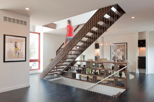 Contemporary Wooden Straight Open And Cable Railing Staircase Idea In St  Louis