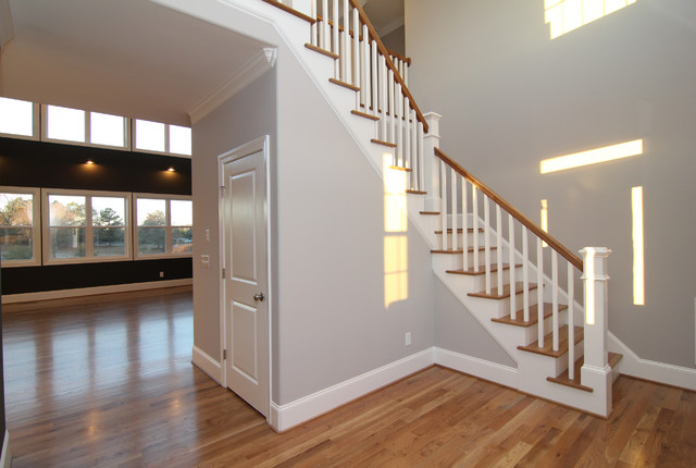 Foyer Staircase Questions : Foyer entry contemporary staircase raleigh by