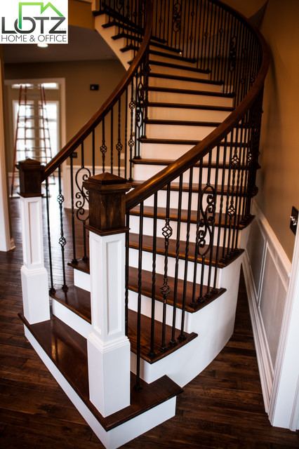 Foyer Painting | Staircase Staining | Naperville Remodeling Contractor Lotz  Traditional Staircase