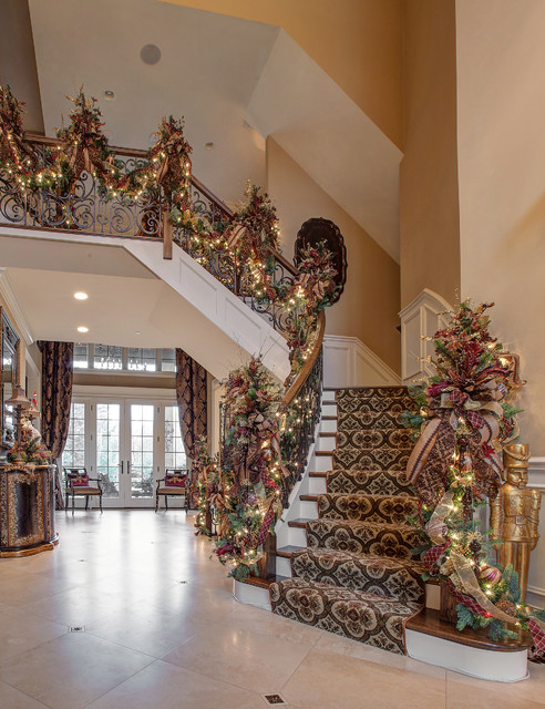 elegant wooden staircase photo in chicago - Christmas Decorations Staircase Hand Railing