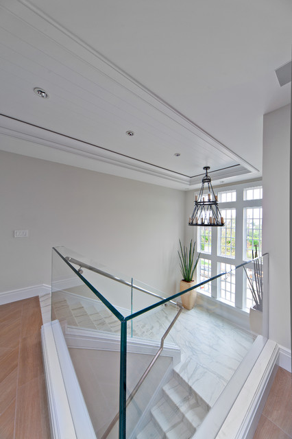 Glass Railing Beach Style Staircase Other Metro By