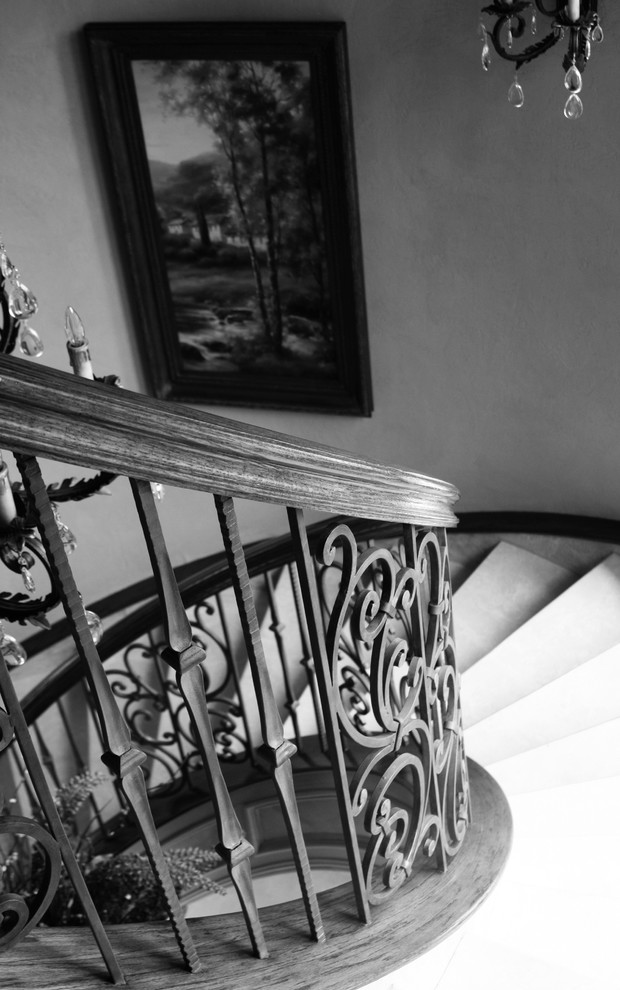 Staircase - large traditional spiral staircase idea in Dallas