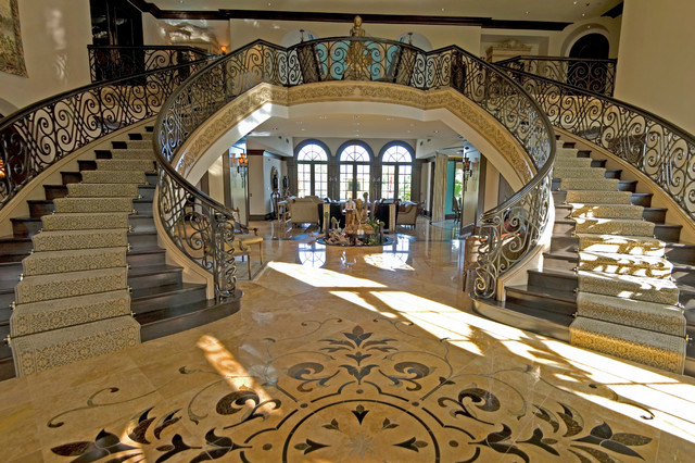 French style custom estate featured on HGTV traditional-staircase