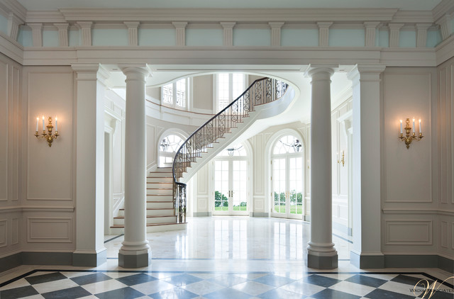 French Style Meets Georgian Elements In This Wadia Country House Traditional Staircase New