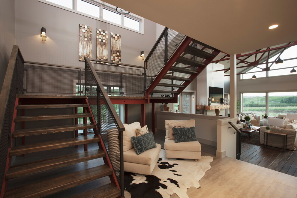 Example of a large trendy metal u-shaped open staircase design in Calgary
