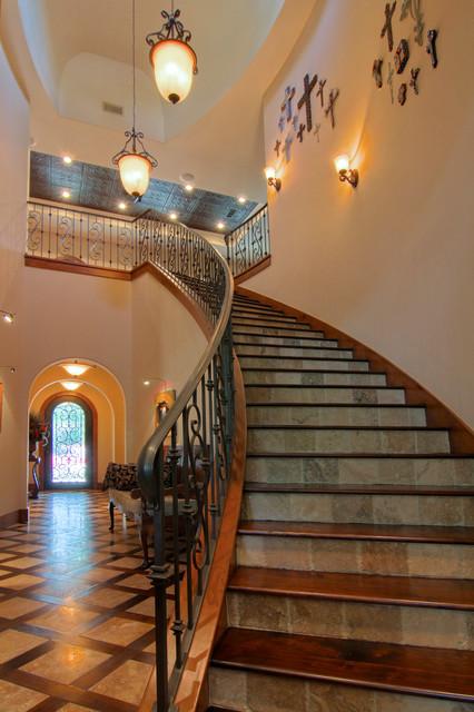 Garden Oaks Tuscan mediterranean-staircase