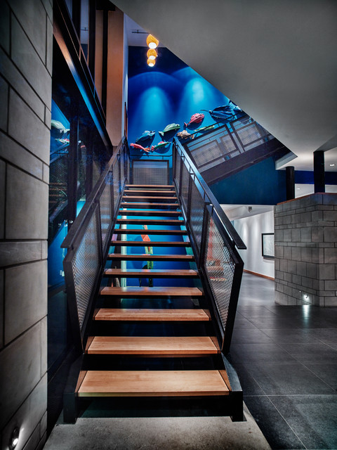 Inspiration for a contemporary wooden l-shaped open staircase remodel in Dallas