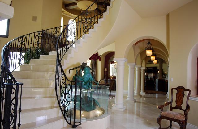 Glamorous Mediterranean Home in San Antonio mediterranean-staircase