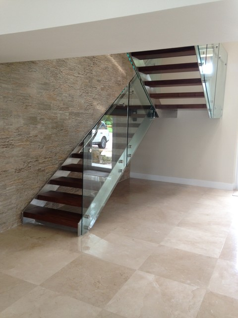Glass and metal stairs